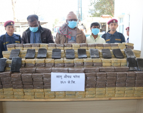 Police seize 360 kg hashish in Dhading, 3 Indian nationals held