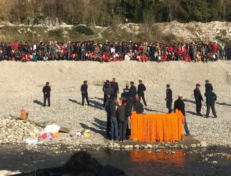 Funeral procession for Adhikari reaches Ramghat