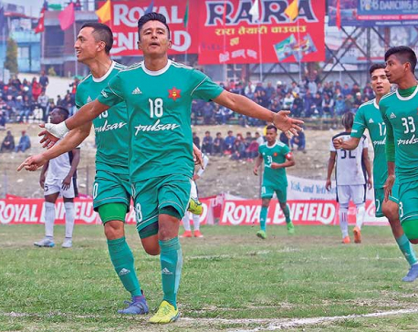 Army scores three goals in second half to reach Aaha Rara semis