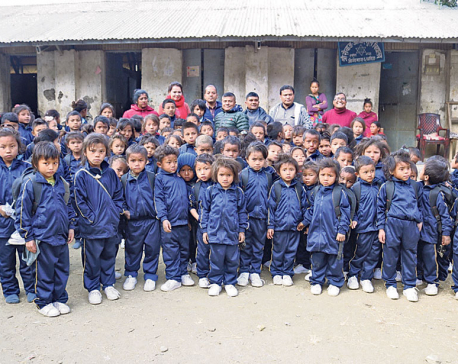 Chepang students get shoes, warm clothes, school bags