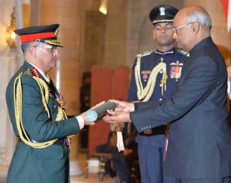 Indian President confers honorary title on Nepal Army Chief Thapa