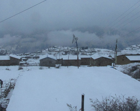 Snowfall grips Humla; transport disrupted and life affected
