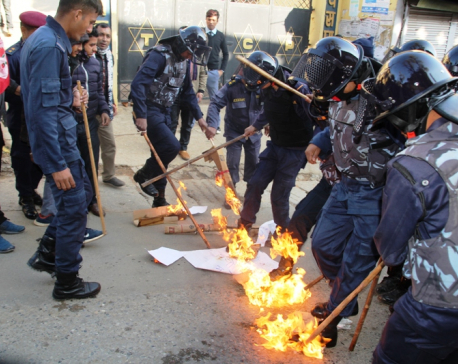 Students burn effigies of PM Oli in Palpa