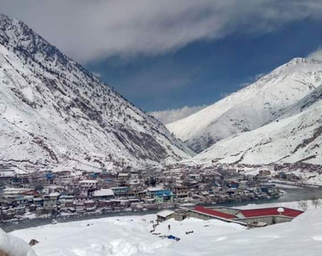 Dolpa experiences third snowfall, transportation halts