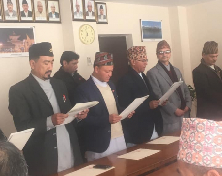 Newly selected Nepal Fine Art Academy's Executive Council members taking oath
