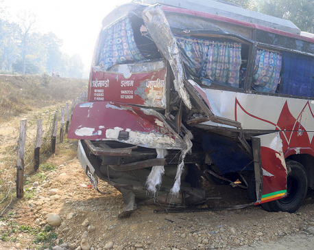 Truck hits bus in Sarlahi, three dead