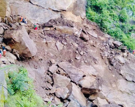 Karnali highway road blocked due to landslides