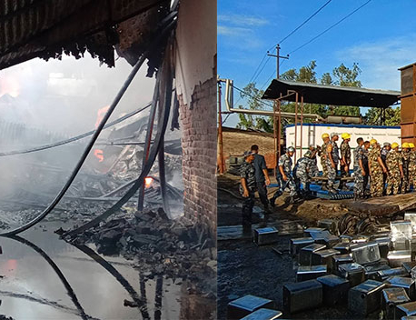 Cooking oil factory catches fire