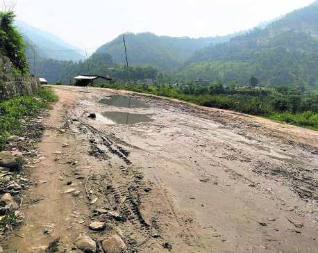 Blacktopping of 30-km long road stretch in Barpak left midway
