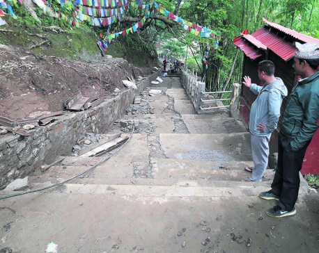 Concrete stairs to religious spot Halesi damaged even before construction completed
