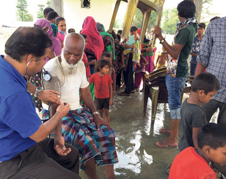 Mobile health camps for flood survivors in Siraha