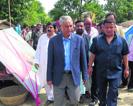 Ministers, officials visit flood victims in Saptari