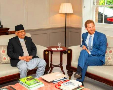 Prince Harry greets PM Oli at Kensington Palace (with photos)