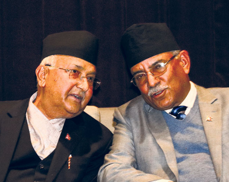 Ahead of Saturday's Standing Committee meeting, Oli, Dahal hold talks to resolve intra-party rift