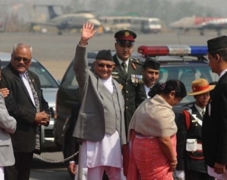 PM Oli leaves Doha for Geneva