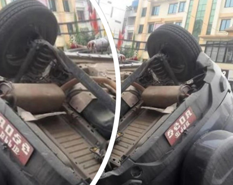 Car overturns in capital, all on board safe