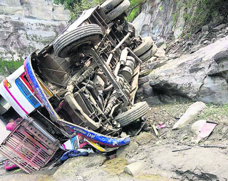 Driver dies as bus falls into river in Sindhuli