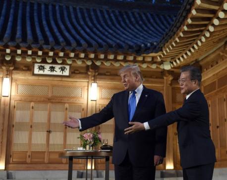 K-pop band greets Trump during Seoul visit