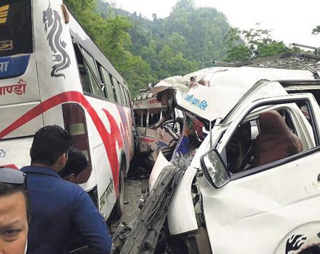2 killed, 25 injured in Dhading bus-vans collision