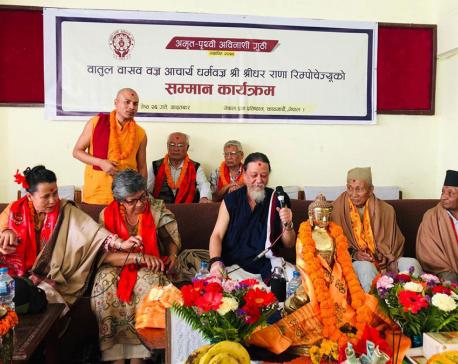 Centenary personality Joshi felicitates renowned Buddhism teacher Sridhar Rana
