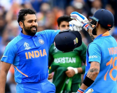 Rohit ton, Kohli fifty power India to 336-5 against Pakistan