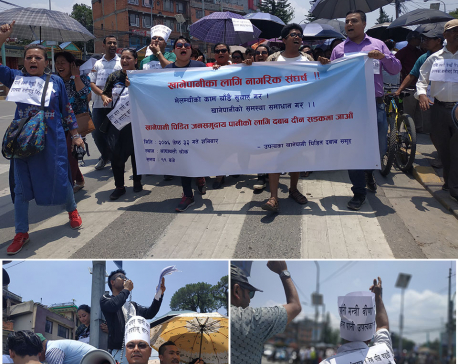 Valley people protest against delayed Melamchi Water Supply Project
