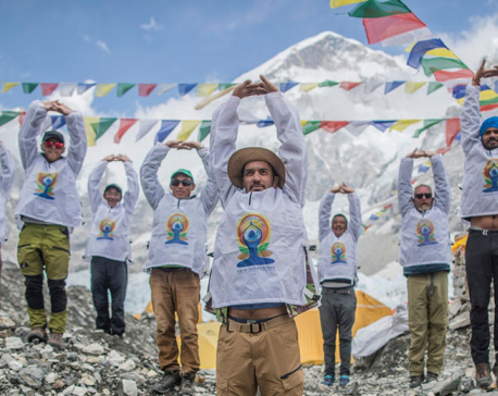 Yoga Day celebrated in Everest base camp (With Pictures)
