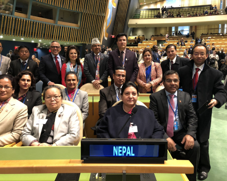 President Bhandari participates in high-level event on 'Women in Power', meets UNSG