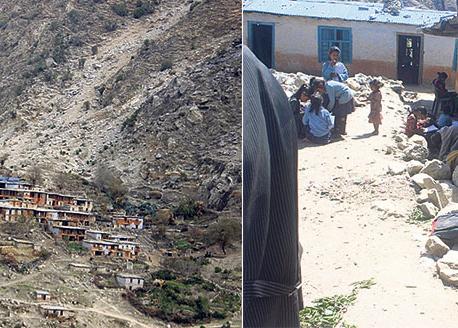 A Mugu village at risk of being crushed by landslide