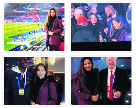 Miss Nepal watches PSG v United match at Parc des Princes