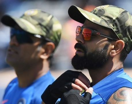Indian cricketers wear army camouflage caps as patriotism grips country