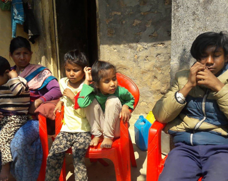 A doting single mother with four visually-impaired children
