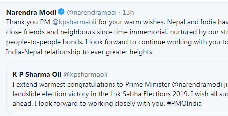 Narendra Modi thanks Nepali leaders who congratulated him on election victory