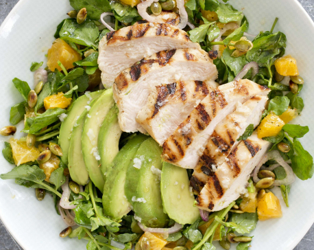Grilled avocados gave this chicken salad a smoky depth
