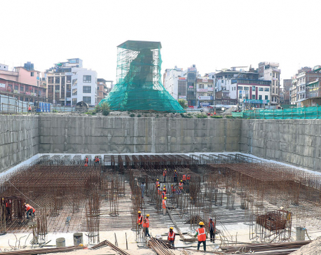 Raft foundation for Dharahara being laid