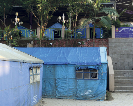 Major police offices in capital still operating in tents