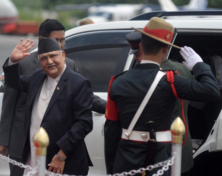 PM Oli returns home from Singapore (with video)