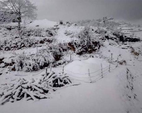 Normal life hit as Jajarkot receives heavy snowfall
