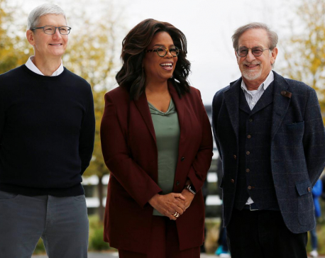 Ovations, hugs and soaring speeches as Apple embraces Hollywood