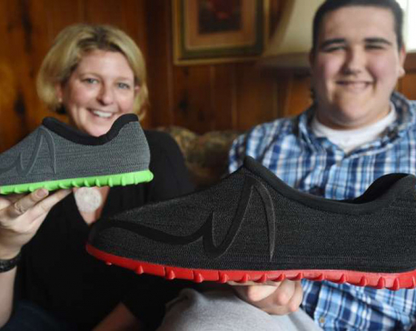 Michigan teen gets 3D-printed shoes for large feet