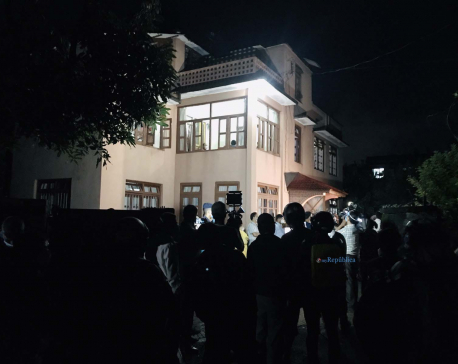 PHOTOS: Late Ghimire's friends, families and well-wishers throng his residence to offer condolences