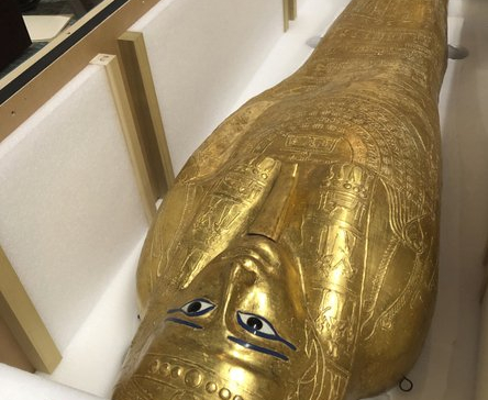 Ancient gilded coffin is returned to Egypt government