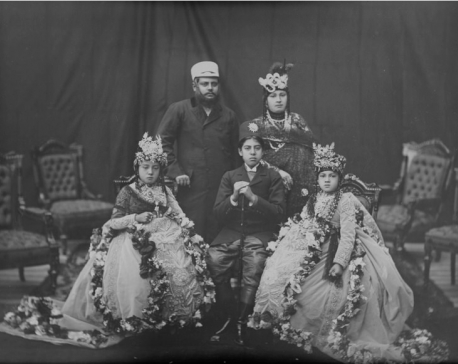 Nostalgia: Bir Shumsher Rana with his wife and two daughters