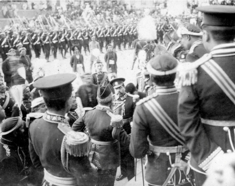 Nostalgia: Officers gathered on the Coronation Day of King Tribhuvan