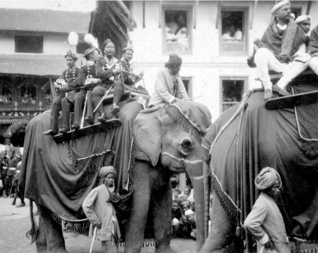 Nostalgia: Elephants being paraded during coronation of late king Tribhuwan in Kathmandu