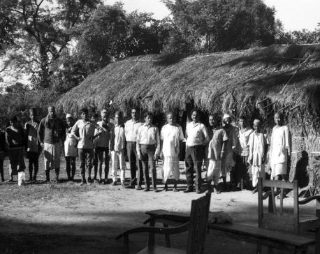 Nostalgia: Surya Bahadur Thapa with the locals in Bangai Village