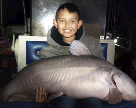 9-year-old boy catches massive blue catfish in New Mexico