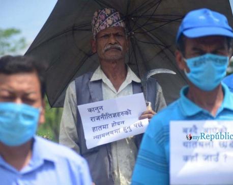 PHOTOS: Symbolic protest against Kathmandu-Tarai Fast Track Project at Khokana