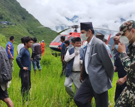 PHOTOS: Speaker Sapkota visits landslide-hit Lidi
