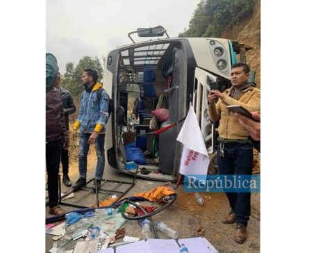 22 college students injured as bus turns turtle in Bhaktapur